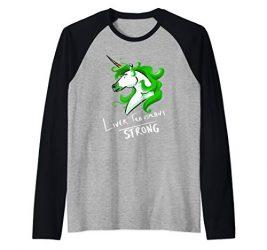 Liver Transplant Unicorn Strong Raglan Baseball Tee