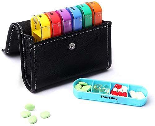 Pill Organizer, Weekly Travel Pill Case Box Medication Reminder Daily AM PM, Pill Container Dispenser Case with PU Leather Case,Day Night 7 Compartments,for 4 Times A Day, 7 Days a Week